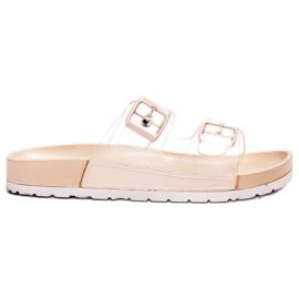 Ideal Shoes brun Genomskinliga flikar Se spänne
