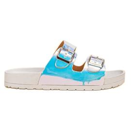 Ideal Shoes grå Tofflor Med Holo Spänne
