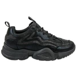 SHELOVET svart Glitter Sneakers