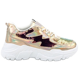 SHELOVET Guld Sneakers With Sequins