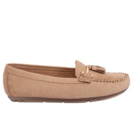 Brun Kvinnors loafers beige L7183 Khaki