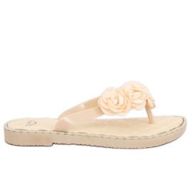 Brun Flip-flops med blommor beige YJL-1818 Beż