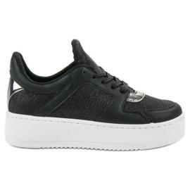 Ideal Shoes svart Sneakers med Brocade