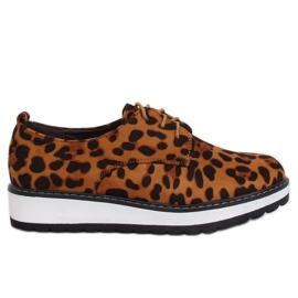 Moccasins för leopard för kvinnor C-7225 Leopard Print brun