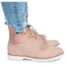 Brun Beige loafers med krossande hårda fransar