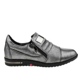Grå skor med dragkedja H034