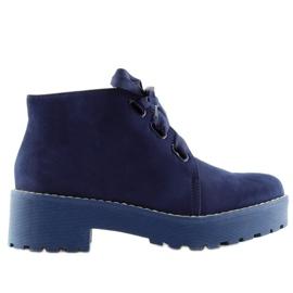 Marinblå Stövlar kvinnors skor mörkblå LL219 Blå