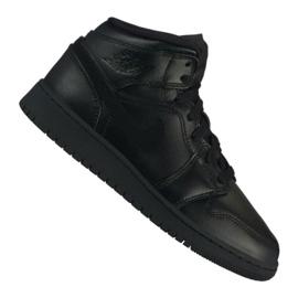 Svart Nike Air Jordan 1 Mid Gs Jr 554725-090 skor