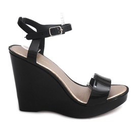 Svart Wedge Heels Open 88-59 Black
