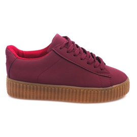 Röd Boots Creepers On Platform AM-1101 Red