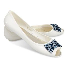 Ballerinor med öppen tå sandaler 092D vit