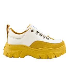Vita och gula trendiga kvinnors sportskor PF5329