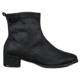 Small Swan svart Slip-on Suede Boots