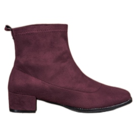 Small Swan Slip-on Suede Boots röd