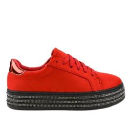 Röd dekorerade damskor G280