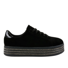 Svarta kvinnors dekorerade sneakers G280