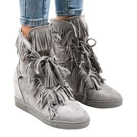 Grå kil sneakers med fransar H6600-36