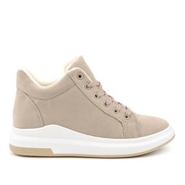 Isolerade beige sneakers TL133-5 brun