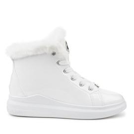 Lackerade termiska vita sneakers TL135-9