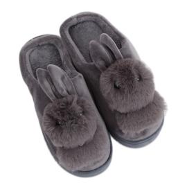 Kvinnors tofflor grå kanin MA01 Grey