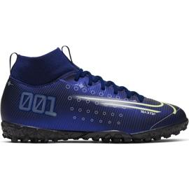 Nike Mercurial Superfly 7 Academy Mds Tf Jr BQ5407 401 fotbollsskor marinblå marinblå