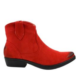 Röda platta K860 cowboystövlar för kvinnor