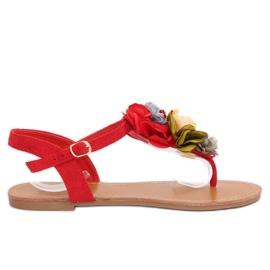 Flip-flops sandaler med blommor röda L518 Red II Art