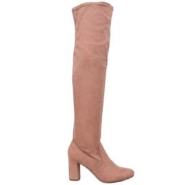 Corina Eleganta stövlar över knäet rosa