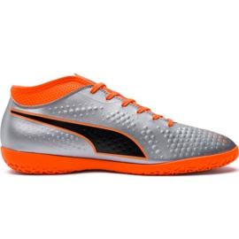 M Puma One 4 Syn It 104750 01 fotbollsskor silver orange, grå / silver