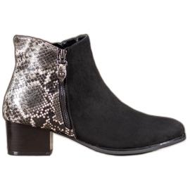 Kylie Black Boots Snake Print svart