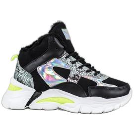 Bella Paris Sneakers med holo-effekt svart