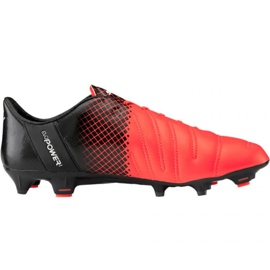 Puma evoPOWER 1.3 Lth Fg M 103850 01 fotbollsskor svart, orange apelsin