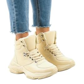 Beige isolerade sneakers för kvinnor C-3132 brun