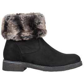 Kayla Suede Boots With Fur svart