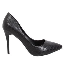 Kvinnors svart läderpumpar svart GG-81P Svart