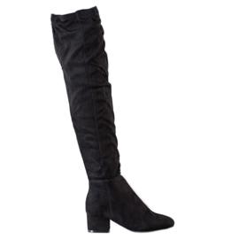 Fashion Svarta lårhöga stövlar