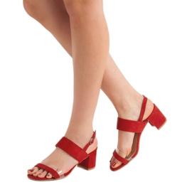 Ideal Shoes Fashionabla kvinnors sandaler röd 2