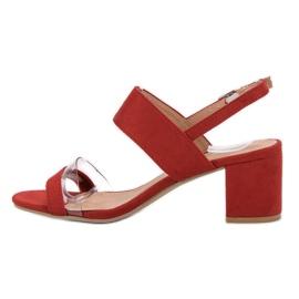 Ideal Shoes Fashionabla kvinnors sandaler röd 1