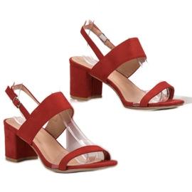 Ideal Shoes Fashionabla kvinnors sandaler röd 3