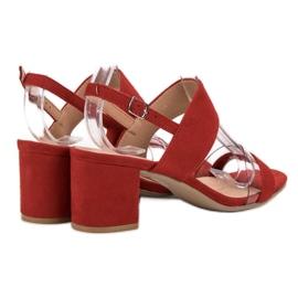 Ideal Shoes Fashionabla kvinnors sandaler röd 5