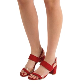 Ideal Shoes Fashionabla kvinnors sandaler röd 4