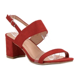 Ideal Shoes Fashionabla kvinnors sandaler röd 6