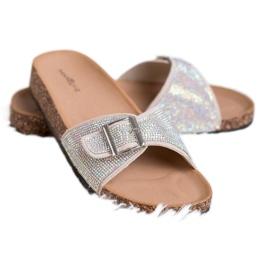 Marquiz Glänsande flip-flops med en spänne brun 3