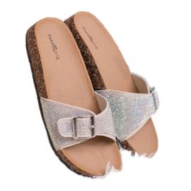 Marquiz Glänsande flip-flops med en spänne brun 4