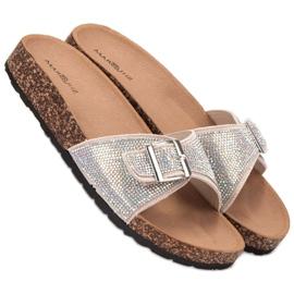 Marquiz Glänsande flip-flops med en spänne brun 1