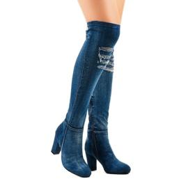HX15135-96 jeans med rippor marinblå 2