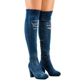 HX15135-96 jeans med rippor marinblå 1