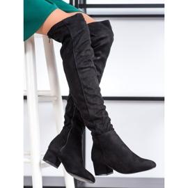 Fashion Svarta lårhöga stövlar 1