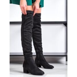 Fashion Svarta lårhöga stövlar 2