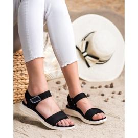 Evento Bekväma sandaler med kardborreband svart 1